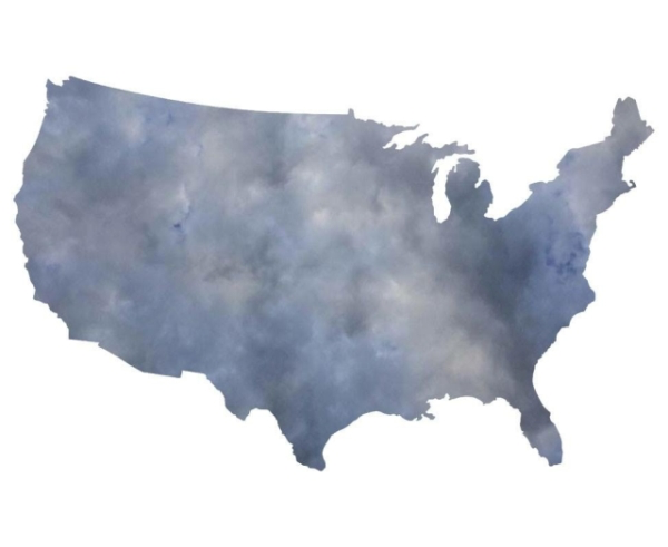 United States silhouette with dark coloring