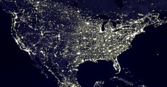 satellite image of North America at night